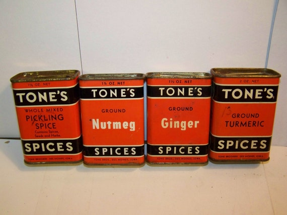 sp102 Old tones spice tin lot, spice tin set,  nutmeg tin, ginger tin, turmeric tin, pickling spice tin
