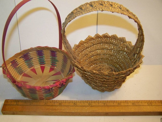 Old Easter baskets pair vintage woven by bullseyecollectibles
