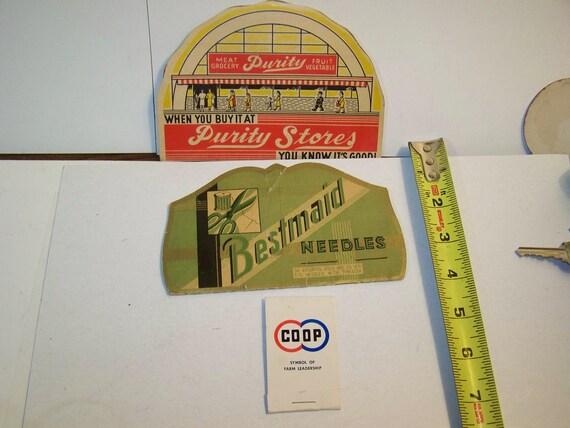 Vintage needle books, Purity Stores needle book