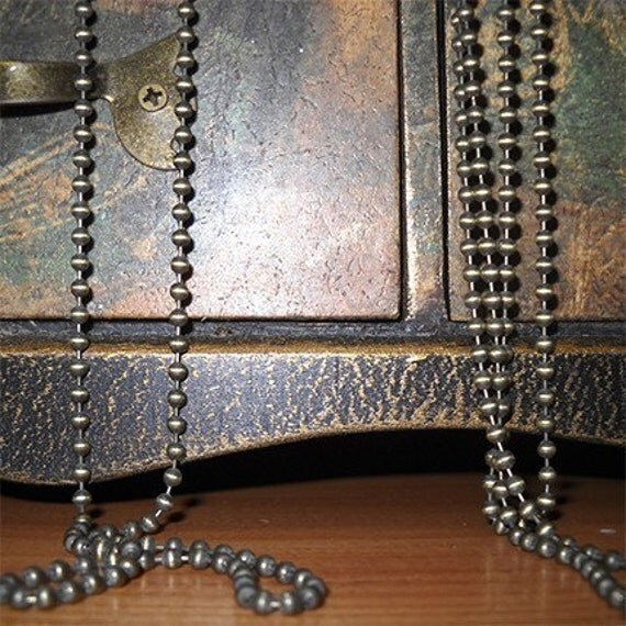 22 inch antique bronze ball chain necklace