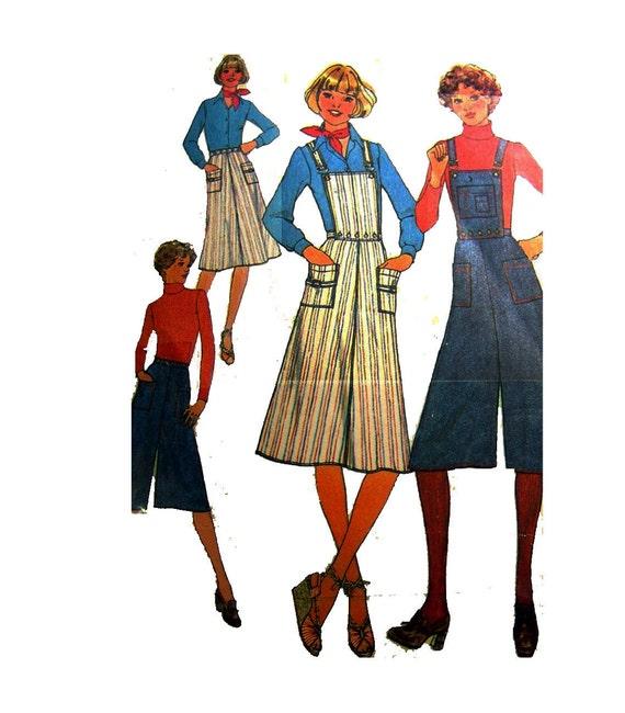 Bibbed Overalls Dress Sewing Pattern  Skirt Pantskirt Culottes Vintage 70s  Simplicity 7890