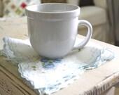 Vintage Handkerchief, Blue Floral, Hanky