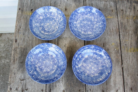 4 Molly Dallas Hand Painted Bowls, Splatter Ware, Pottery, Blue