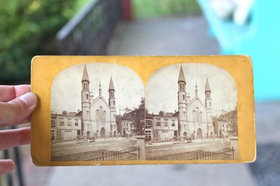 SALE Vintage Ephemera Old Church Stereo View, Yellow, Church