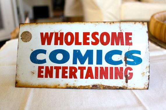 Tin Advertising Sign Wholesome Comics Entertaining
