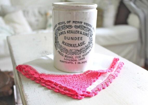 Vintage Handkerchief, Hanky, White with Hot Pink Trim