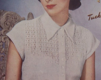 Vintage Knitting Pattern Women's Cap Sleeve Sweater Blouse - PDF Email Delivery - PrettyPatternsPlease