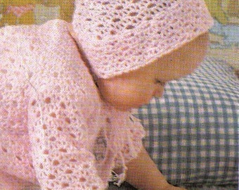 Vintage Digital Crochet Pattern for Baby - Lacy Sweater Coat, Bootees, Bonnet - English Pattern - PrettyPatternsPlease