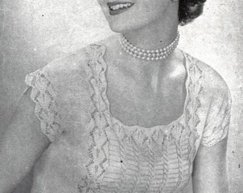 Captivating - 1955 Patten to Knit Scoop Neck Top Lacy Front Insert - PrettyPatternsPlease