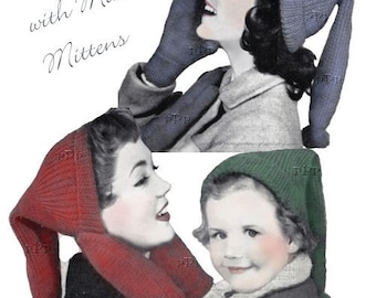 Stocking Caps & Mittens for the Family Retro Hats Tassels - PrettyPatternsPlease