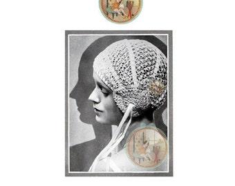 Antique Crochet Pattern Boudoir Cap Art Nouveau The Needlewoman from England PDF Email Delivery - PrettyPatternsPlease