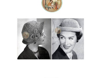 Retro 1955 Women's Hats Knitting Pattern - Town and Country Hats - PDF - PrettyPatternsPlease