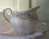 Vintage Ironstone Pitcher //Creamer// Olive Green// Transferware// Farm// Traditional //Shabby from Tessiemay