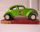 Vintage VW 1960's Lime Green Bug Tonka  Metal Sidewinder Toy from Tessiemay