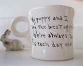 vintage mug.dog.poem.handmade.black.white spaniel.tessiemay