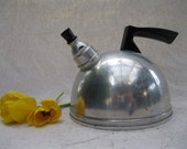 Vintage Teakettle//40's// Aluminum //Whistling// Shiny// Black Handled from Tessiemay