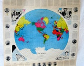 Vintage Schoolroom Posters Educational Flip Charts Three Maps of the US and World from Tessiemay