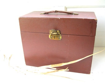 vintage file box.midCentury.leatherette case.faux bois.desk.office.urban.tessiemay
