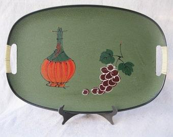 midcentury tray.Japanese.mcm barware.gray.green.serving.50's.tessiemay