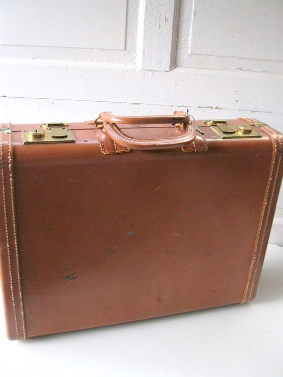 Vintage Suitcase Caramel Stylite TravelFather's Day Luggage Brass Hardware  KEY from Tessiemay