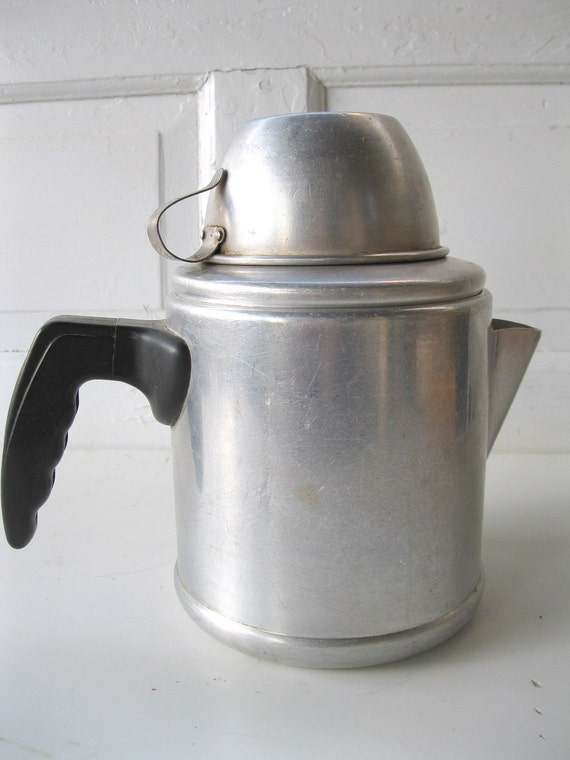Vintage Percolator MidCentury Aluminum Stove Top/Campfire Working Sturdy Solid with Cup from Tessiemay