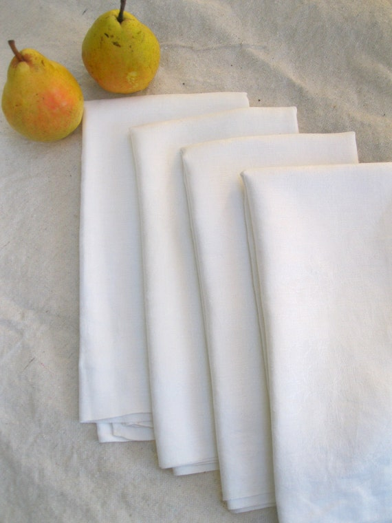 Vintage Napkins Dinner Damask Four Matching Pure White  Large  from Tessiemay