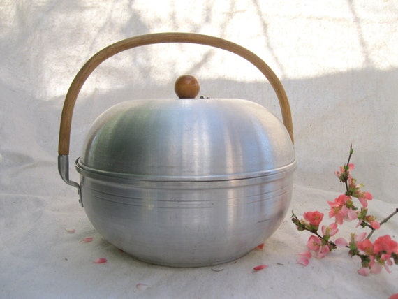 Vintage Bread Server Mod MidCentury Urban Aluminum Bun/Roll Shiny Metal Wood Handle from Tessiemay