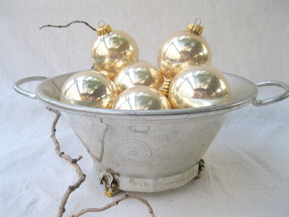vintage french funnel.HOLIDAY.bowl.silver.gold patina.shabby chic.tessiemay