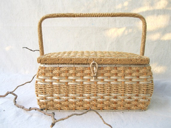 Vintage Sewing Basket //Cream// Tan// Large// Japanese Made// Midcentury //Woven //Wicker from Tessiemay