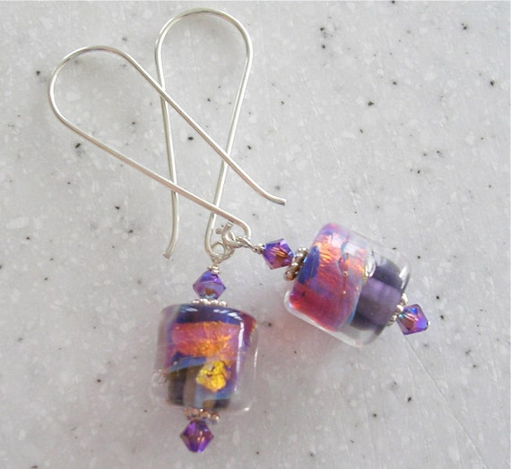 Purple Sunset Lampwork Beads and Silver Earrings
