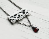 Victorian Jewelry, Vintage Lace and Garnet Necklace, Black, White, Red Gemstone, Goth Jewelry, Unique