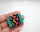 Funky Zig Zag Brooch, Vintage Fabric Tribal Jewelry, Black, Yellow, Pink, Teal, Chevrons, Black Friday Etsy
