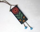 Bohemian Necklace, Orange Flower, Scandinavian Boho Jewelry, Navy Blue, Yellow, Green, Summer Fashion, Black Friday Etsy