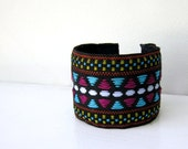 Neon and Black Tribal Jewelry, Cuff Bracelet, Triangles, Geometric, Summer, Purple, Blue, Yellow Pattern, Black Friday Etsy