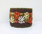Retro 1970s Colors Bohemian Cuff Bracelet, Boho Jewelry, Nature Inspired, Flowers, Brown, Orange, Yellow, Black Friday Etsy