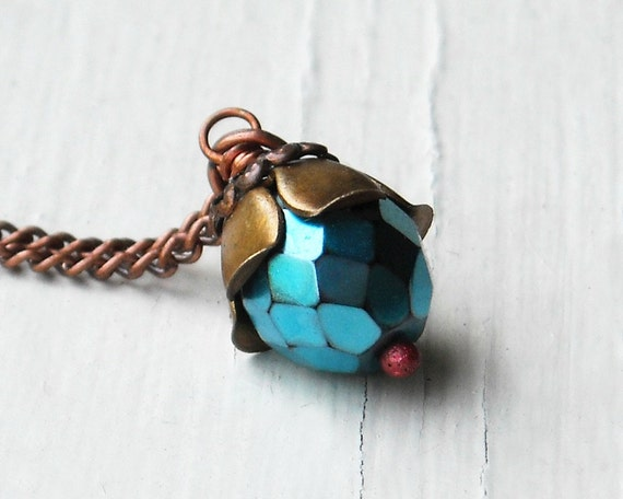 Teal Blue Necklace, Faceted Glass, Flower Petals, Copper
