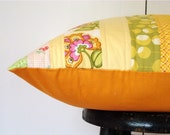 RESERVED SALE Orange/yellow quilted pillow cover