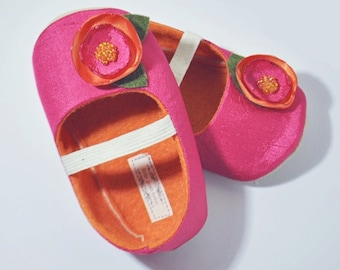 Baby Girl Shoes Toddler Girl Shoes Soft Soled Shoes Wedding Shoes Flower Girl Shoes Summer Shoes Hot Pink Orange Girl Shoes - Madeline