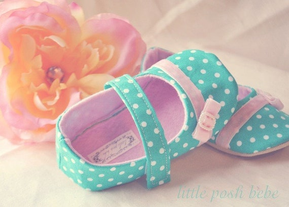 Baby Girl Shoes Toddler Girl Shoes Infant Shoes Soft Soled Shoes Birthday Shoes Spring Shoes Summer Shoes Aqua Pink Shoes -Ciara