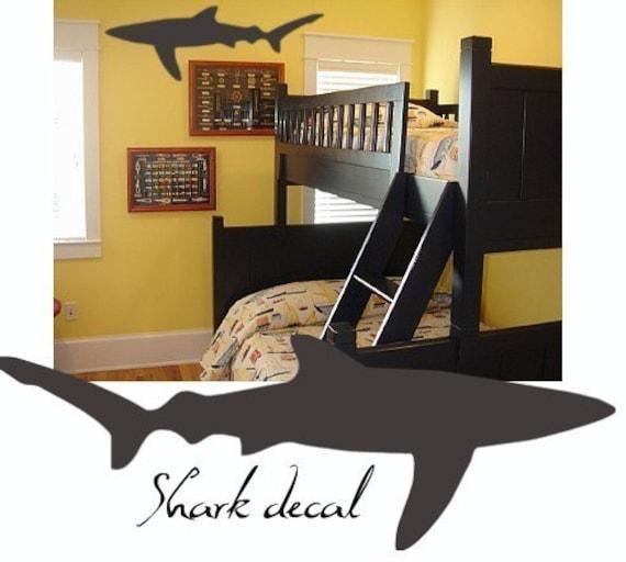 shark wall decal kids large vinyl wall art graphics fish. Black Bedroom Furniture Sets. Home Design Ideas