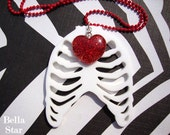 Rib Cage Necklace - You See Right Thru Me - Red Glitter Heart Plastic Gothic Glam