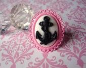 Anchor Ring - Black and White Cameo - Pink Lolita Kawaii Glam Setting - Enamel Adjustable Band