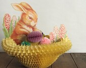 RESERVED for Marita   Vintage Easter Honeycomb Decoration Bunny Rabbit, Eggs and Hyacinths