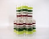 Striped Drinking Glasses, 1950s Homer Laughlin, Set of Eight