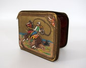 Vintage Child's Cowboy Wallet, Cowboy on Horse with Lasso