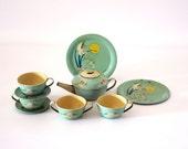 Vintage Fairies Tea Set, 1930s  Ohio Art Tin Toy