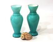 Vintage Aqua Vase Pair, Cased Glass