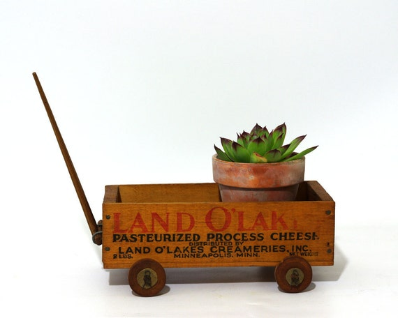 Vintage Cheese Box, Land O Lakes, Folk Art Wagon