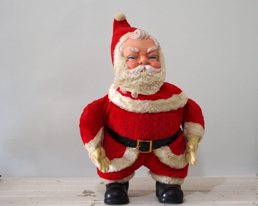Vintage santa claus doll s vinyl face hands boots
