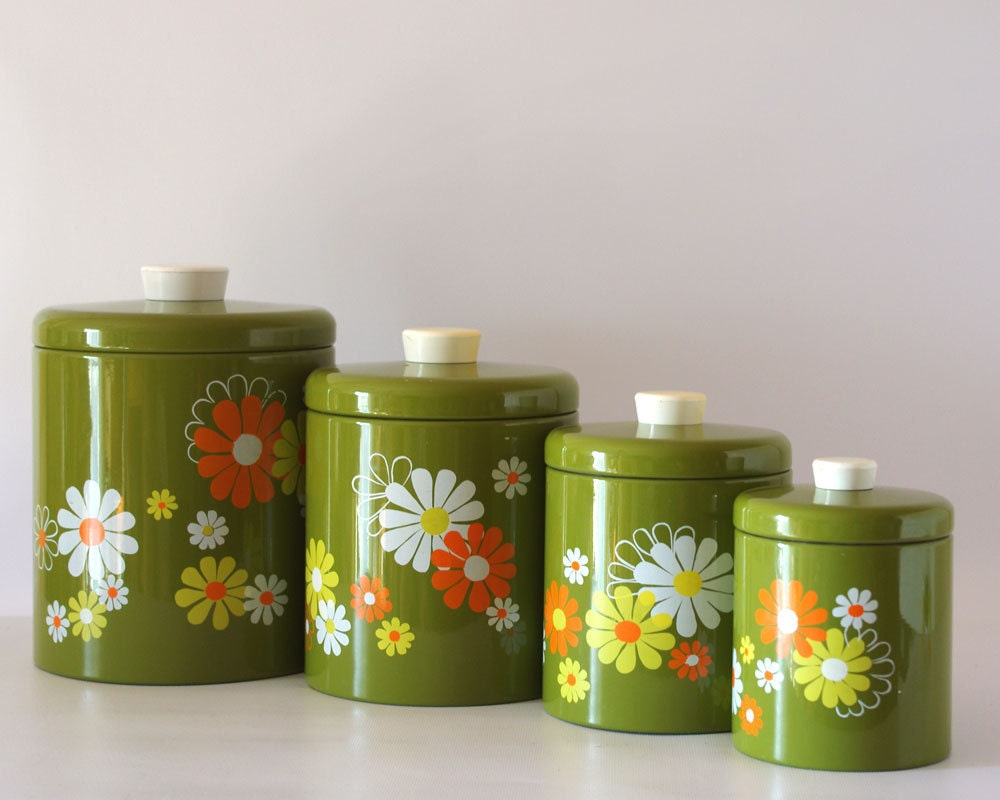 vintage ransburg canister set avocado with white yellow